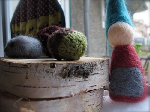 Felted gnomes and knit acorns