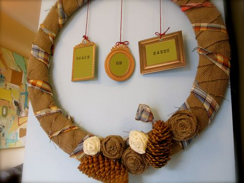 burlap wreath with fabric flowers
