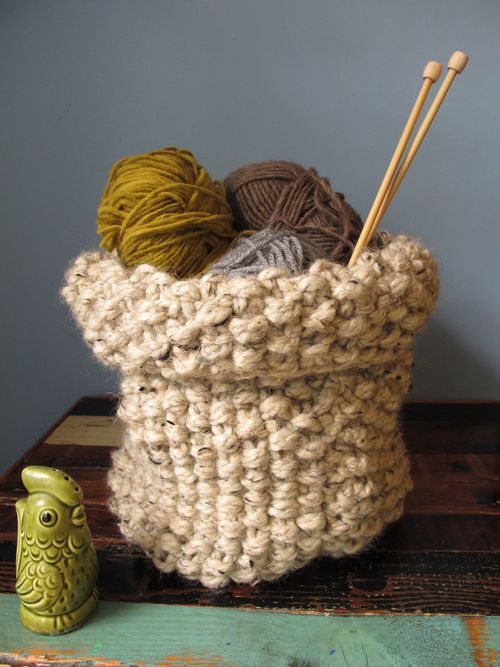 knitted basket tutorial