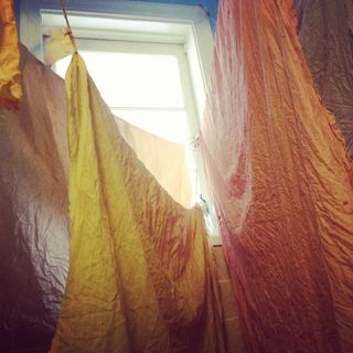 hanging, natural dyeing cotton