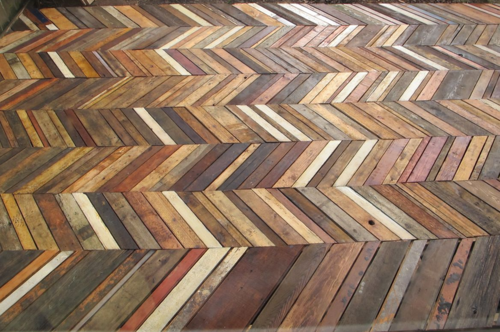 chevron wood pallet deck